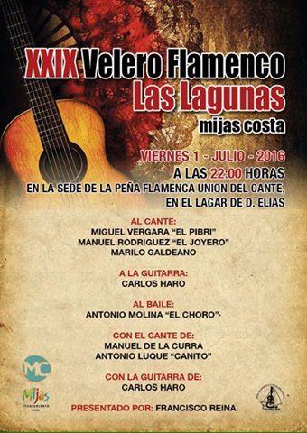 Cartel XXIX Festival Velero Flamenco 2016